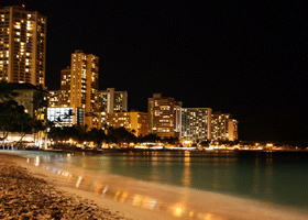 Image of a city beach at night