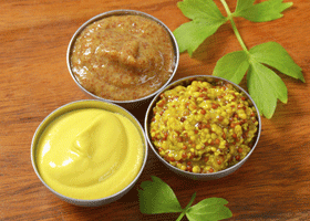 Image of a selection of mustards being compared