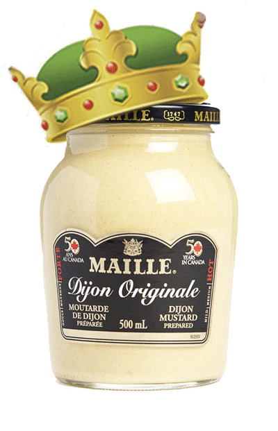 Dijon mustard with a crown on