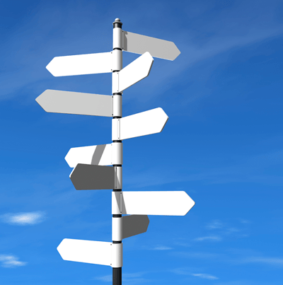 Image of a signpost with signs pointing in different directions