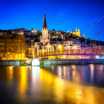 Image of Lyon at night