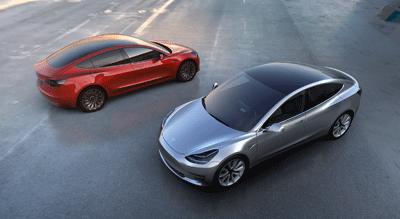 Image of two Tesla Model 3s