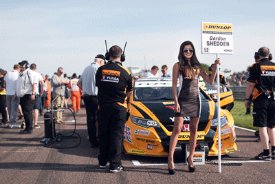 Image of BTCC car lining up to race