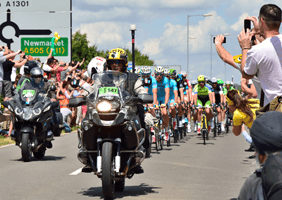 Motorcycles leading the Tour de France