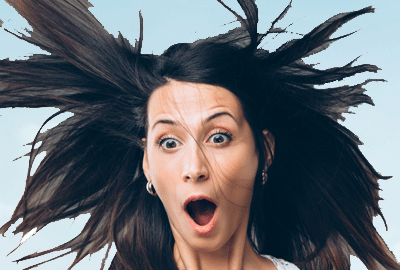 Image of woman with wind in her hair