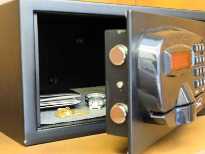 A hotel safe