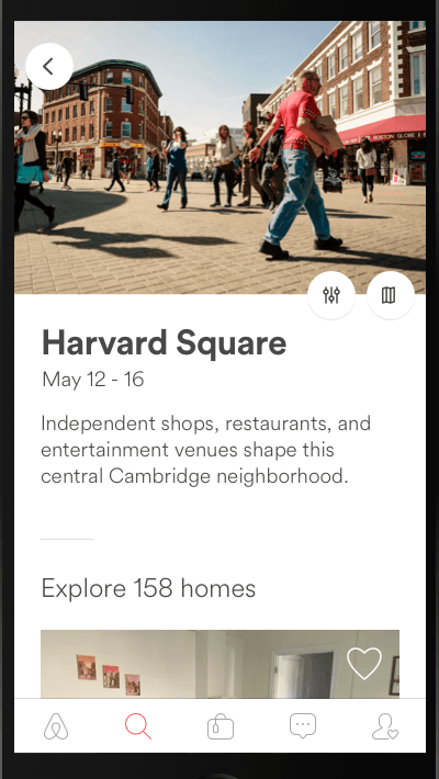 Screenshot of Airbnb app