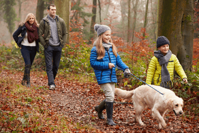 Image of a family walking their dog in the woods