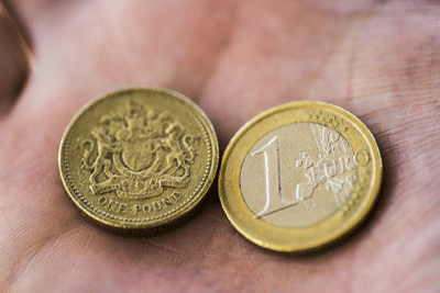 Image of a pound and euros