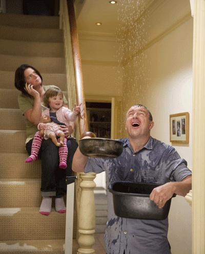 Image of a family struggling with burst pipes