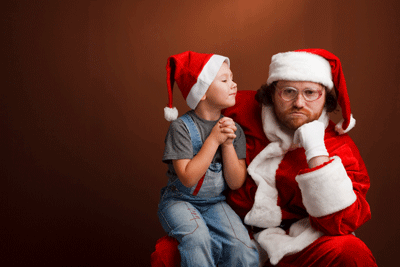 Image of a santa looking bored