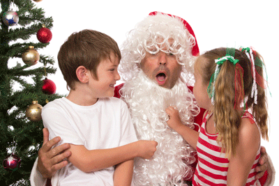 Image of a santa getting their beard pulled off