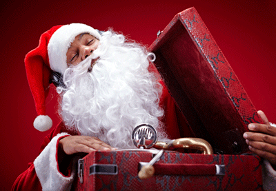 Image of santa spinning some discs
