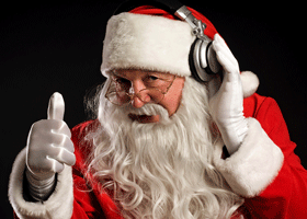 Image of santa listening to records