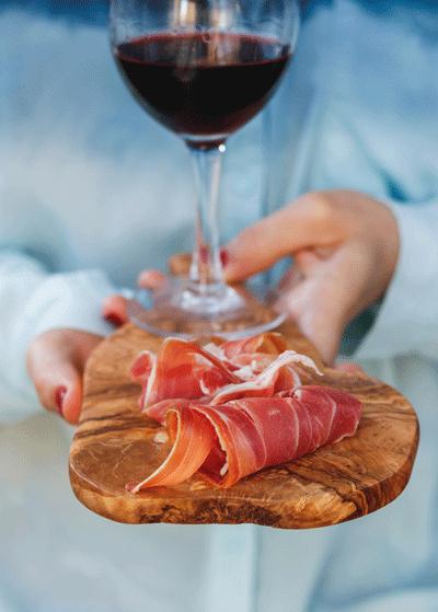 Image of ham and wine