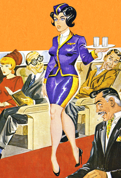 Image of passengers ogling stewardess