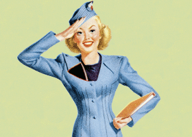 Image of an old-fashioned stewardess