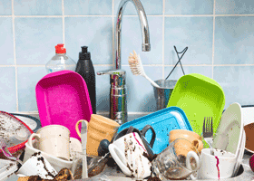 Image of a sink full of dishes