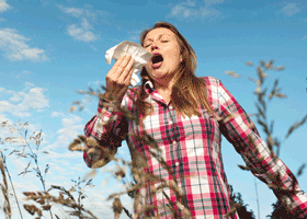 Imnage of woman sneezing in a field