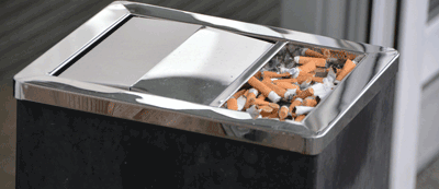 Image of cigarette butts in the bin