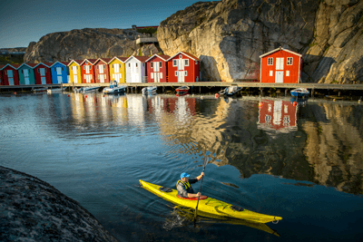 Image of a man kayaking in Gothenburg