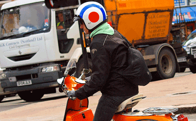 Image of a man with a 'Quadrophenia' style helmet