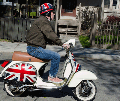 Image of a man with a union jack helmet