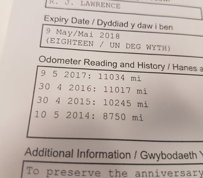 Mileage on an MOT certificate