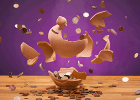Image of exploding piggy bank