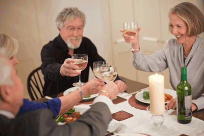 Image of a party enjoying dinner