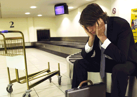 Distraught man at airport
