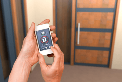Image of smart lock app on mobile phone