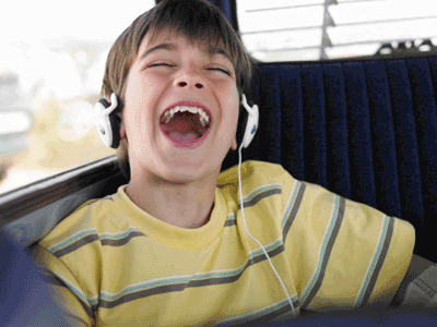 Image of a child listneing to an audiobook