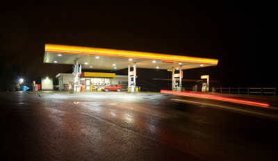 Image of service station at night