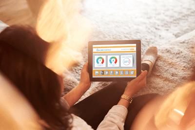 Image of woman checking smart meter