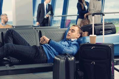 Man accepting delay at airport