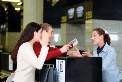 Image of people bargaining at airport