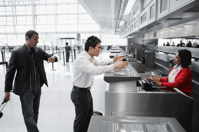 Image of man bargaining at airport
