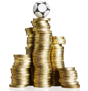 Image of football balancing on pound coins