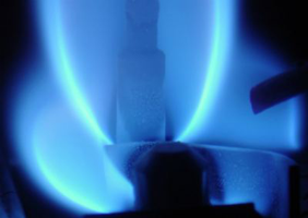 A blue gas flame
