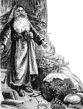A Victorian engraving of Father Christmas, with lots of tantalising goods, the highlight of which is an enormous plum duff