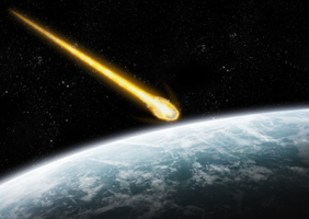 A meteor above the earth