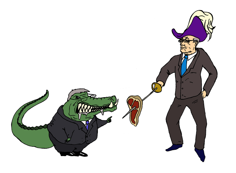 Rupert Murdoch in pirate hat battles alligator in business suit