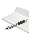 Making a will: An envelope and pen
