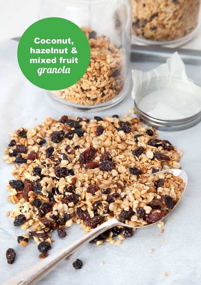 Coconut, Hazelnut and mixed fruit granola Front
