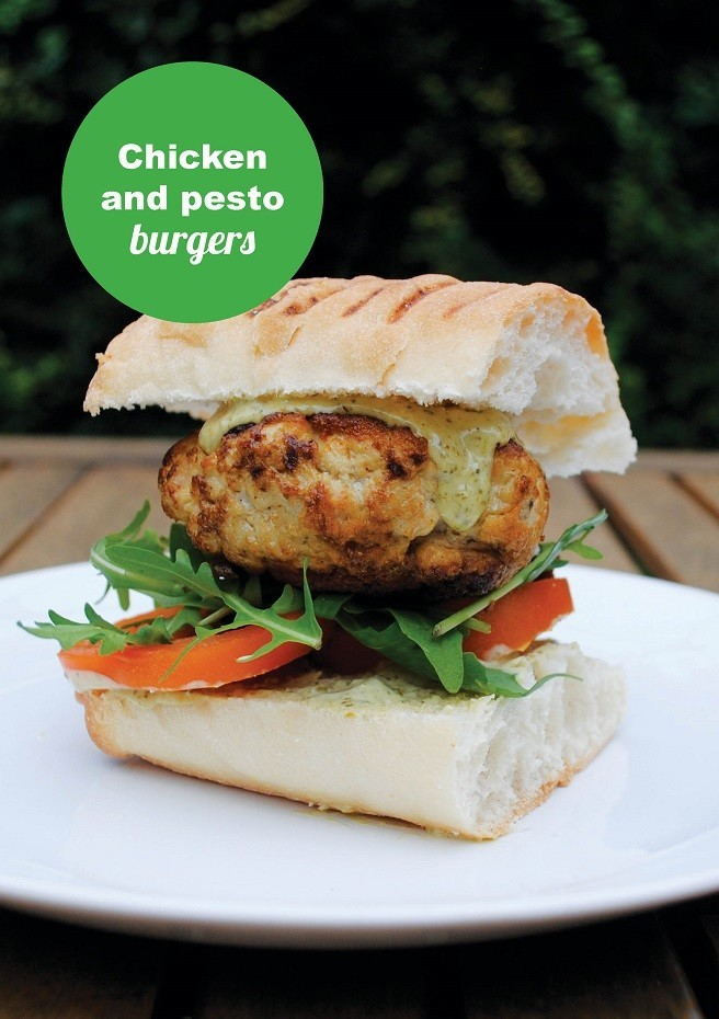 Chicken and Pesto Burgers Front