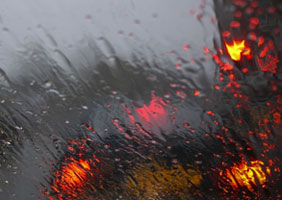 A rainy car window