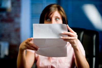 Woman shocked at letter