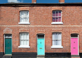Houses with colourful doors