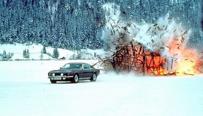 Ford Mustang escapes from burning hut
